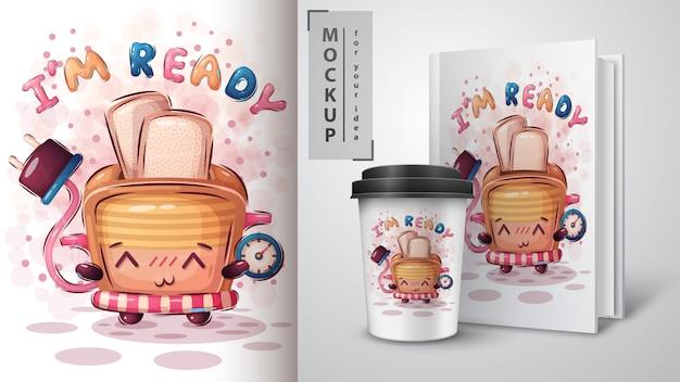 Cartaz e merchandising da torradeira de tempo