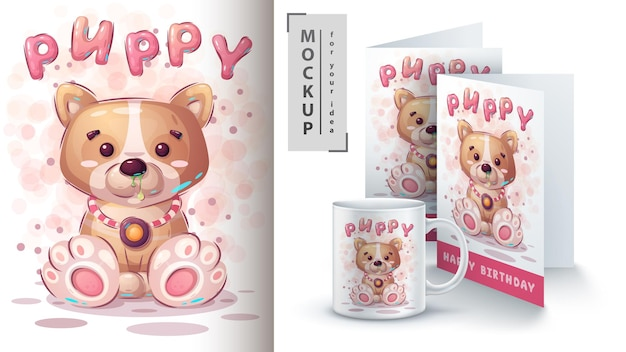 Cartaz e merchandising de cachorrinho