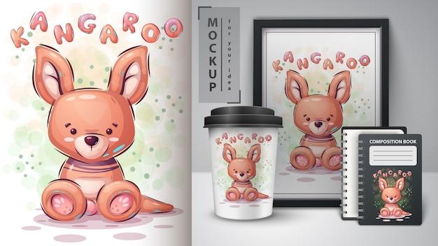 Cartaz e merchandising de canguru de pelúcia