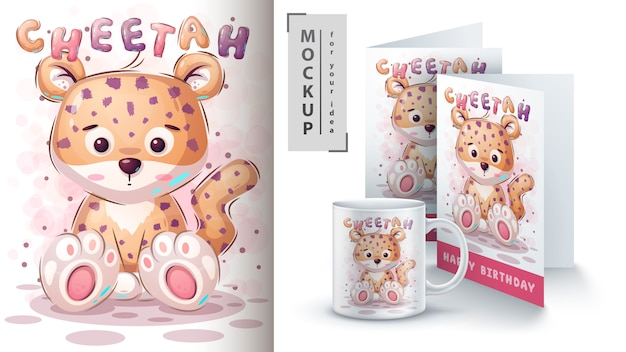Cartaz e merchandising de chita de pelúcia