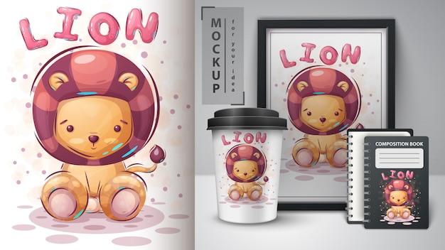 Cartaz e merchandising de leão fofo