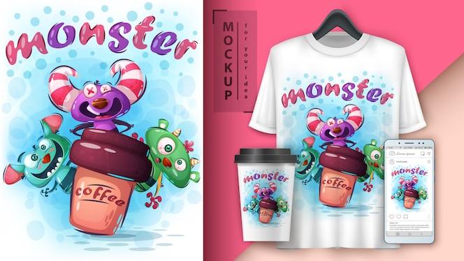 Cartaz e merchandising de monstro de horror