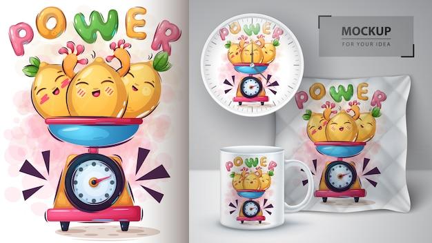 Cartaz e merchandising de monstro de limão doce