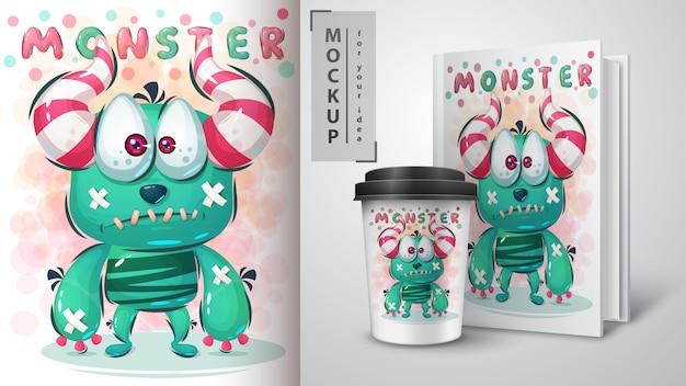 Cartaz e merchandising de monstro triste