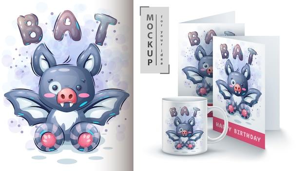 Cartaz e merchandising de morcego fofo
