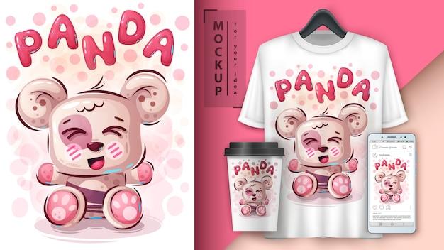 Cartaz e merchandising de panda de pelúcia
