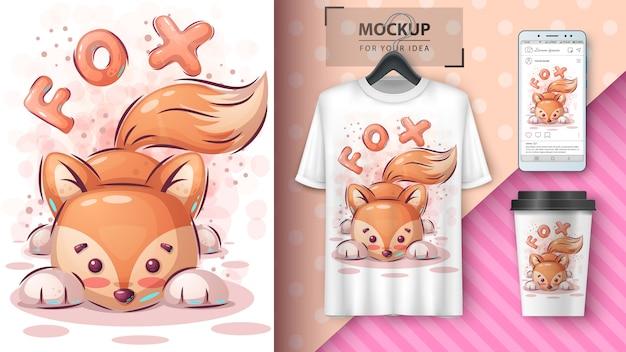 Cartaz e merchandising de raposa de pelúcia