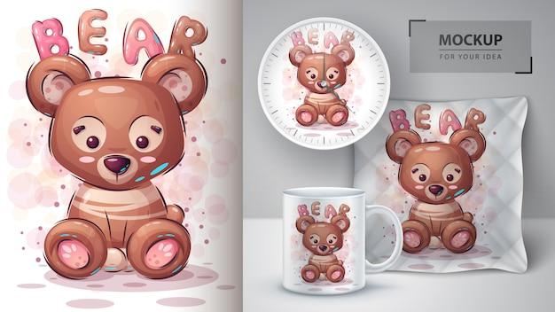 Cartaz e merchandising de ursinho de pelúcia