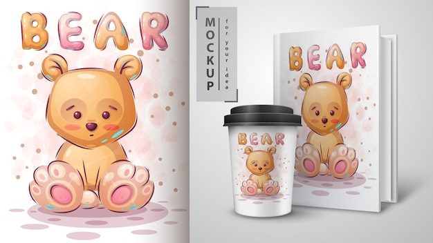 Cartaz e merchandising de urso amarelo de pelúcia