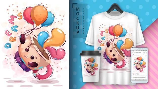 Cartaz e merchandising do balão aéreo