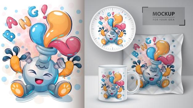 Cartaz e merchandising do balão bang