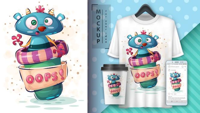 Cartaz e merchandising do café monster