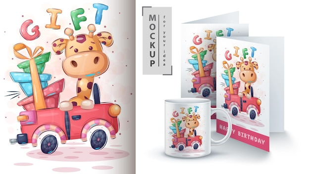 Cartaz e merchandising do carro girafa