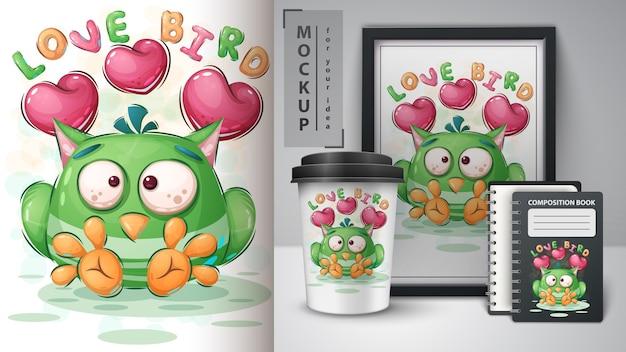 Cartaz e merchandising do pássaro do amor