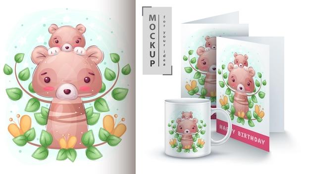 Cartaz e merchandising do urso da família
