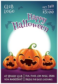 Cartaz editável de feliz dia das bruxas com abóboras sorridentes, assustadas e com raiva em fundo azul escuro com lua cheia. feliz festa de halloween. para cartazes, banners, folhetos, convites, cartões postais.