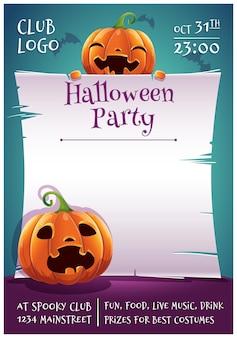 Cartaz editável de feliz dia das bruxas com abóboras sorridentes e assustadas com pergaminho em fundo azul escuro com morcegos. feliz festa de halloween. para cartazes, banners, folhetos, convites, cartões postais.