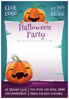 Cartaz editável de feliz dia das bruxas com abóboras sorridentes e felizes com pergaminho em fundo azul escuro com morcegos. feliz festa de halloween. para cartazes, banners, folhetos, convites, cartões postais.