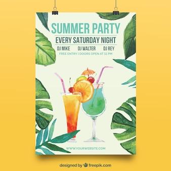 Cartaz elegante com folhas de aguarela do partido de verão