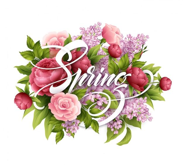Cartaz elegante com lindas flores e letras de primavera. buquê de flores lilás, rosa e peônia.