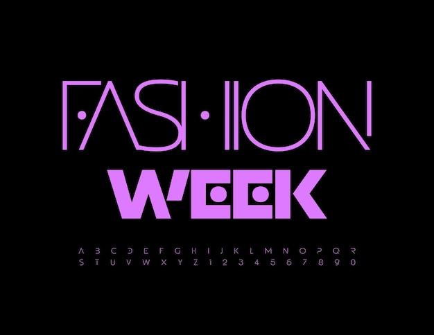 Cartaz elegante de vetor fashion week moderno fonte roxa abstrato moderno letras e números do alfabeto