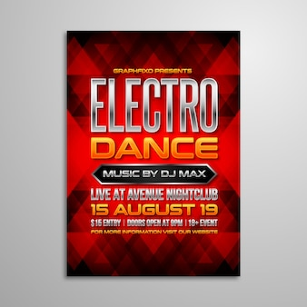 Cartaz eletrônico da música do dance party