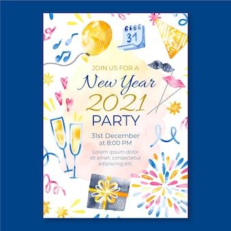 Cartaz em aquarela de feliz ano novo de 2021