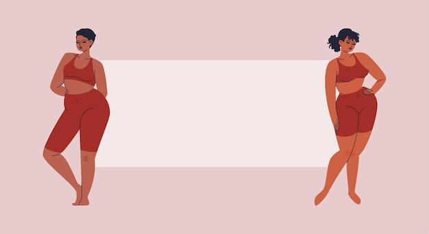 Cartaz em branco entre duas mulheres bonitas pessoas com sobrepeso em frente a um espaço em branco isolado