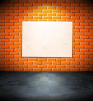 Cartaz em branco na parede de tijolos