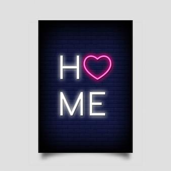 Cartaz em casa para no estilo neon