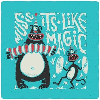 Cartaz engraçado com animais de circo