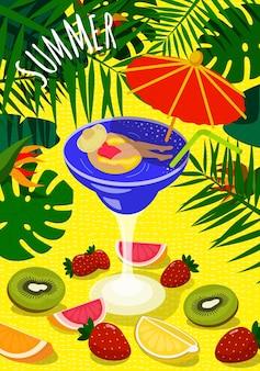 Cartaz ensolarado colorido brilhante de verão. mulher bonita se bronzear no círculo inflável em copo de coquetel e guarda-chuva. na areia, folhagem tropical de fundo e frutas frescas. ilustração vetorial verão