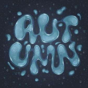 Cartaz escuro da rotulação outono. fonte de água. tempo chuvoso. letras abstratas de água
