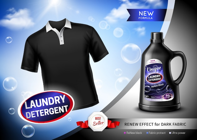 Cartaz escuro da tela do detergente para a roupa