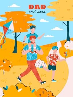 Cartaz familiar de pai e filhos brincando no parque de outono