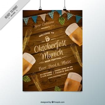 Cartaz fantástico com fundo de madeira para oktoberfest