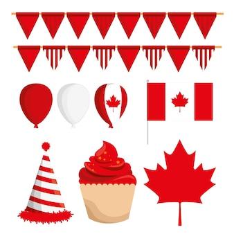 Cartaz feliz da celebração do dia de canadá