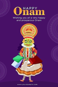 Cartaz feliz de onam com kathakali