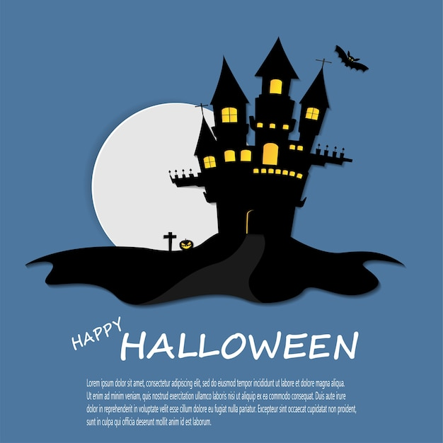Cartaz feliz do dia das bruxas castelo escuro no fundo da lua cheia