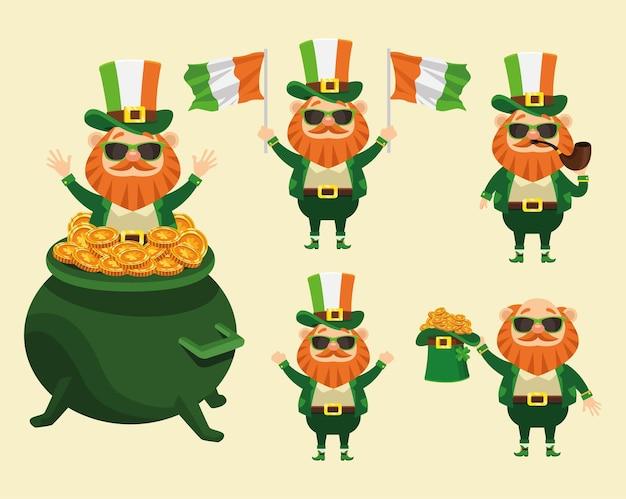 Cartaz feliz do dia de são patrício com ilustração de cinco personagens duendes