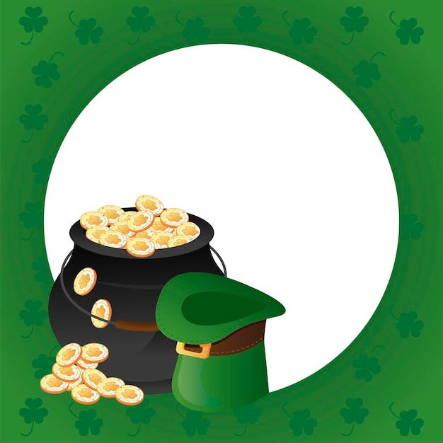 Cartaz feliz do dia de são patrício com ilustração do caldeirão do tesouro e chapéu de duende