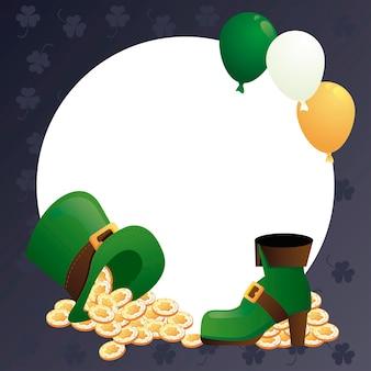 Cartaz feliz do dia de são patrício com um tesouro em um chapéu de duende e uma bota com balões de hélio.