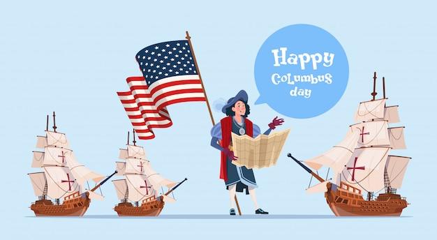 Cartaz feliz do feriado da descoberta de américa do cartão comemorativo