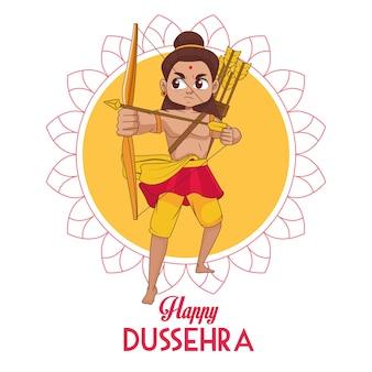 Cartaz feliz do festival de dussehra com rama personagem em mandala