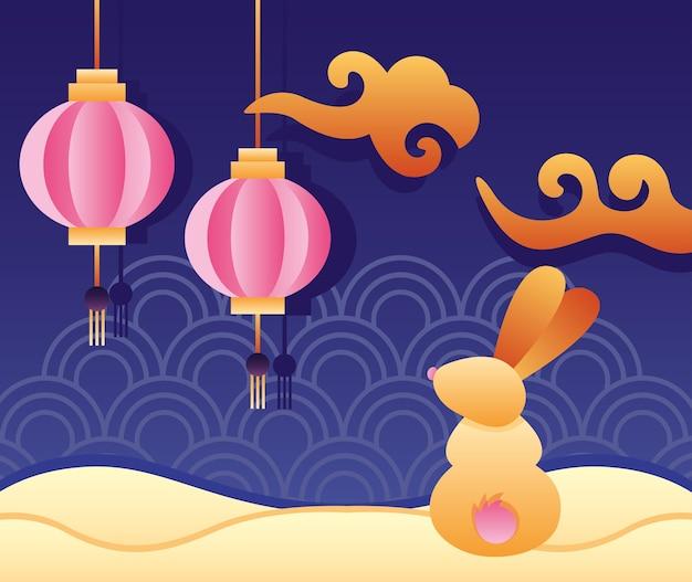 Cartaz feliz do festival de meados do outono com coelho e lanternas penduradas