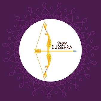Cartaz feliz do festival dussehra com arco e letras em fundo roxo