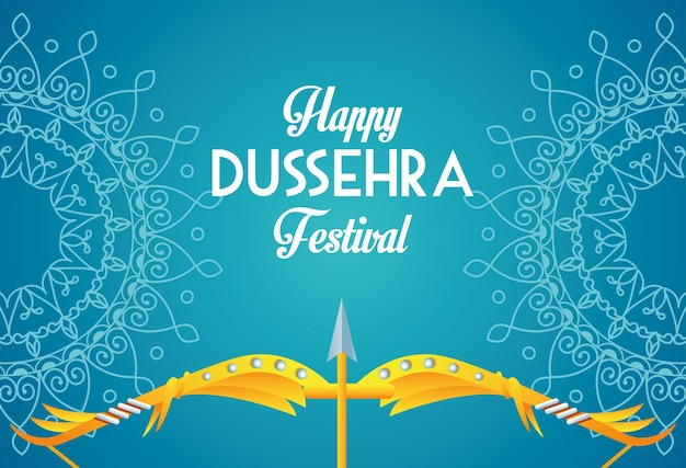 Cartaz feliz do festival dussehra com arco e mandalas em fundo azul