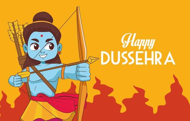 Cartaz feliz do festival dussehra com o personagem rama azul