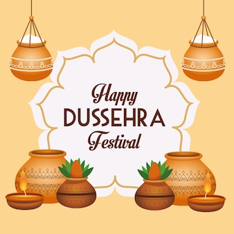 Cartaz feliz do festival dussehra com vasos de cerâmica e moldura floral