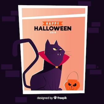 Cartaz feliz do gato do vampiro do dia das bruxas